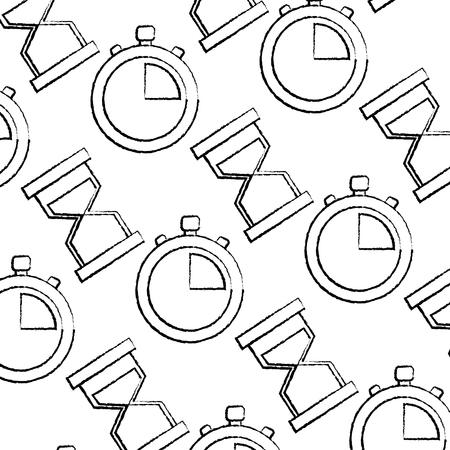 Tempo de negócios cronômetro ampulheta areia ilustração em vetor padrão sem emenda Foto de archivo - 92281871