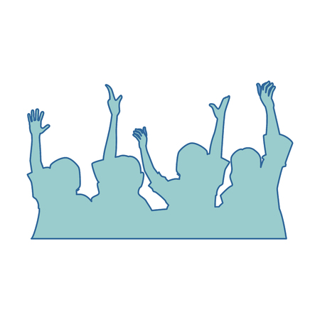 Pessoas com mãos para cima silhueta ilustração vetorial design Foto de archivo - 92281874