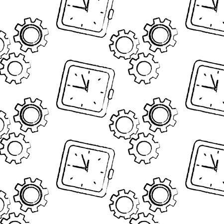 clock time gear business work seamless pattern vector illustration Illustration