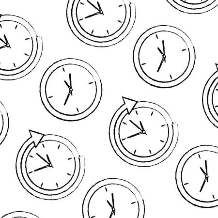 bedrijfsklokbeheer rond de dienst naadloze patroon vectorillustratie