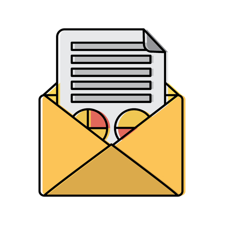 Email message document envelope business graph vector illustration