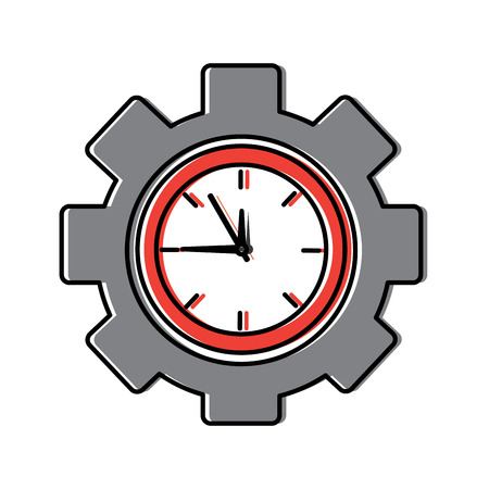 business clock gear work time vector illustration Illustration