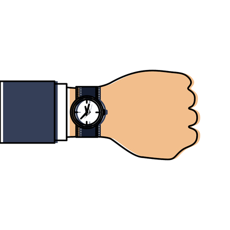 business hand with wrist watch timer vector illustration