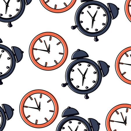 business clock time alarm management seamless pattern vector illustration