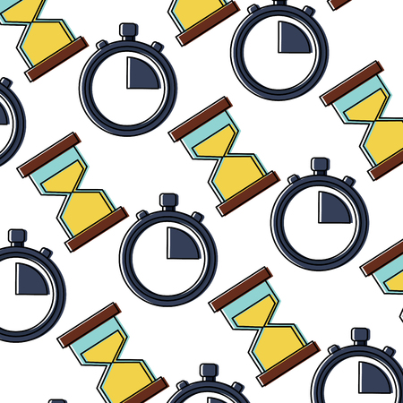 business time stopwatch hourglass sand seamless pattern vector illustration
