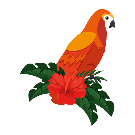 Cockatoo exotic bird with flower vector illustration design.