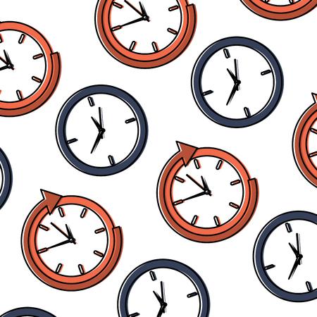 business clock management around service seamless pattern vector illustration.
