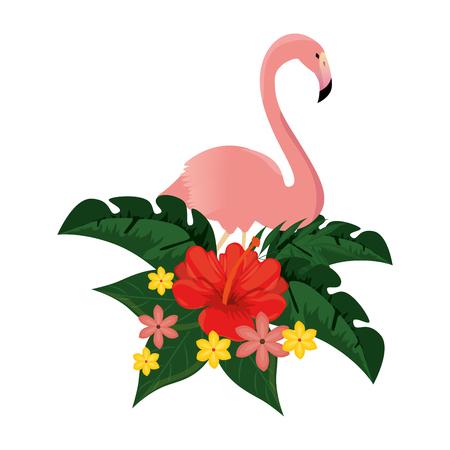 Exotic bird flamingo with flowers illustration design.