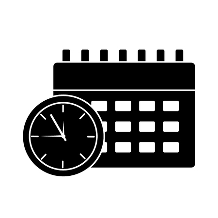 business clock time and calendar icon vector illustration