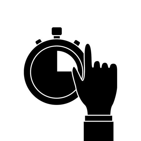 Hand man with clock time management productivity vector illustration. Illustration