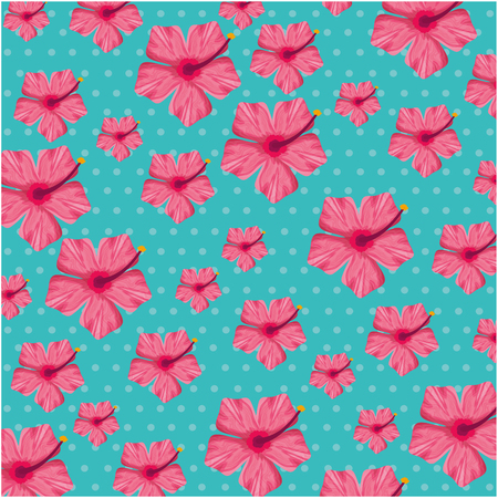 Exotic and tropical flower pattern background vector illustration design.