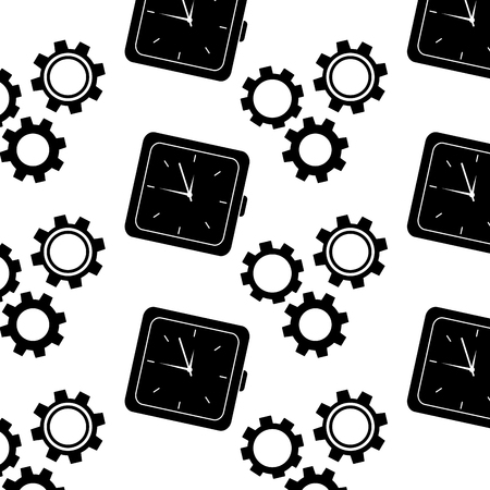 Clock time gear business work seamless pattern vector illustration.