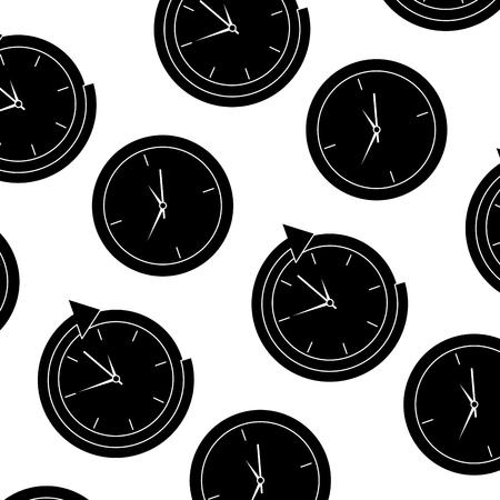 Business clock management around service seamless pattern vector illustration. Ilustração
