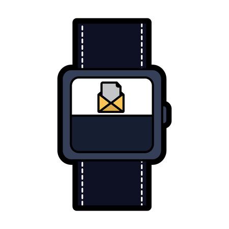 着信メッセージメールアイコンベクトルイラスト付きスマートウォッチ。  イラスト・ベクター素材