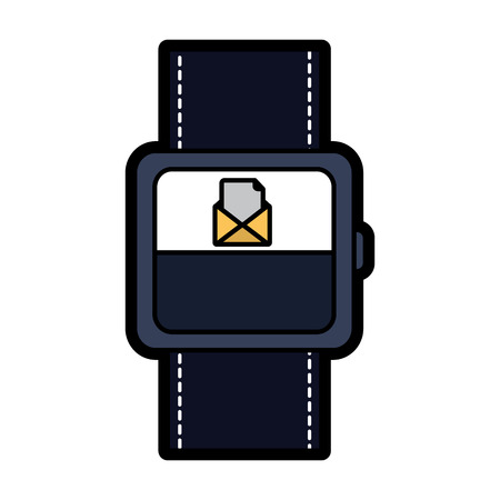 Smart watch with incoming message mail icon vector illustration.