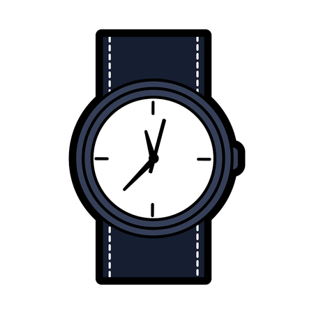 Round wristwatch accessory time fashion icon vector illustration