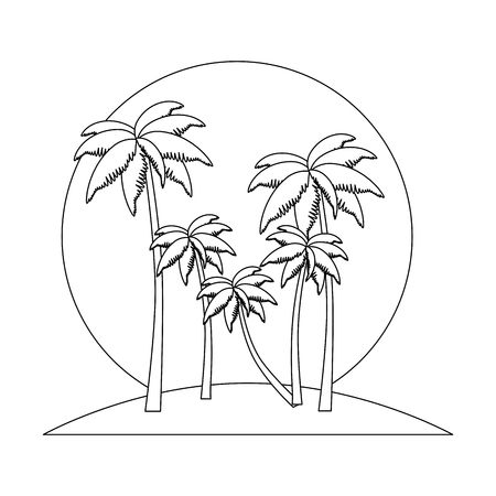 tropical palm trees scene vector illustration design Ilustração