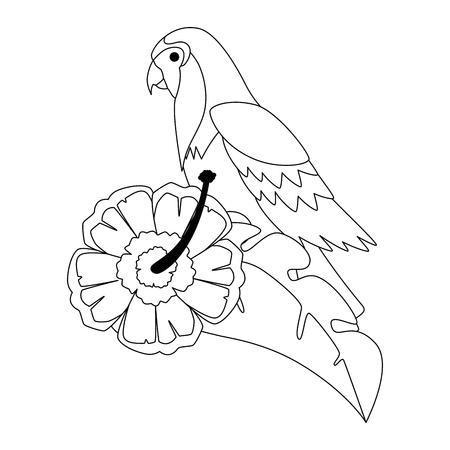cockatoo exotic bird with flower vector illustration design