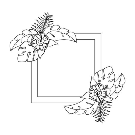 エキゾチックで熱帯の花フレームベクトルイラストデザイン  イラスト・ベクター素材