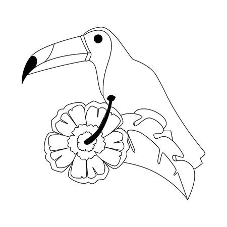 toekan exotische vogel met bloem vector illustratie ontwerp