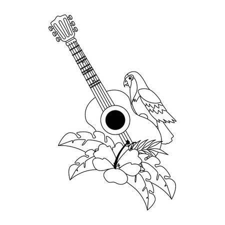 Exotic bird with flowers and guitar vector illustration design