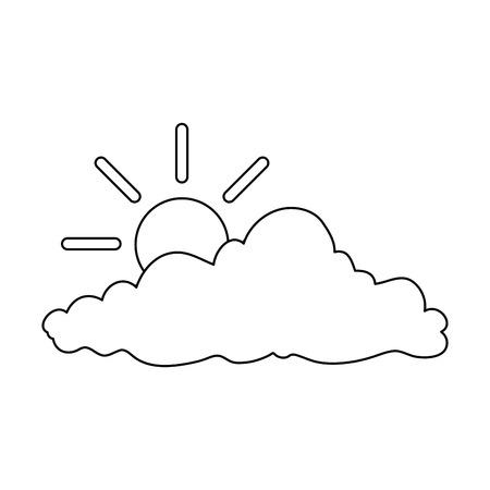 太陽のイラストデザインの自然雲。