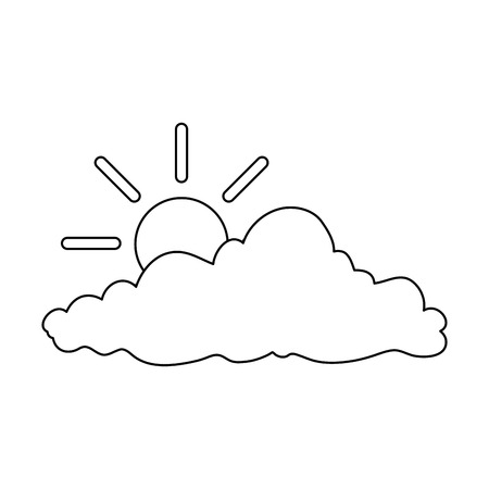 Natural cloud with sun illustration design.