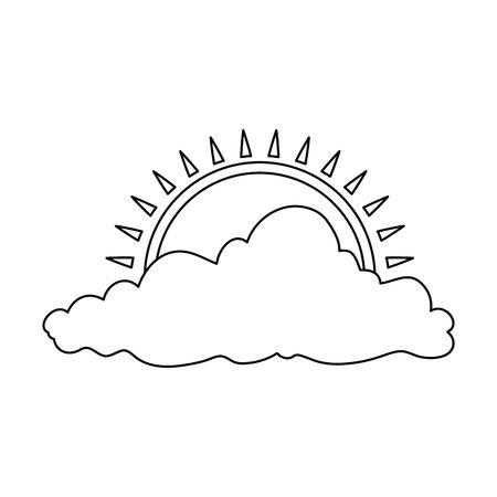 Natural cloud with sun illustration design. Banco de Imagens - 92326349