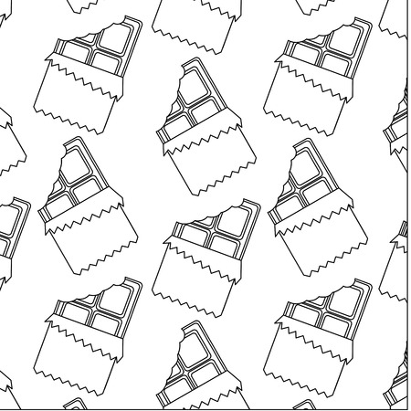 chocolate bar bitten in packaging seamless pattern vector illustration