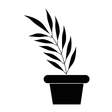 tropical palm leaf in pot vector illustration design