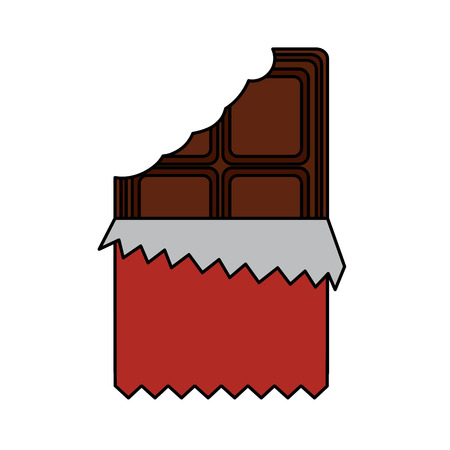 chocolate bar bitten in packaging blank vector illustration