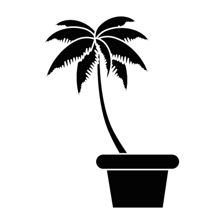 tropical palm tree in pot vector illustration design Ilustração