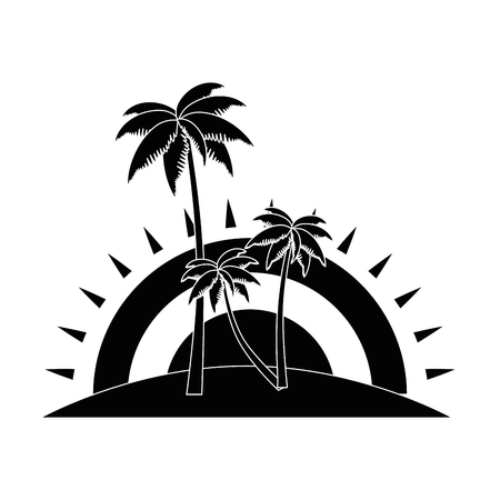 tropical palm trees scene vector illustration design Illustration