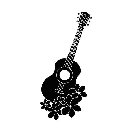 guitar instrument with flowers vector illustration design