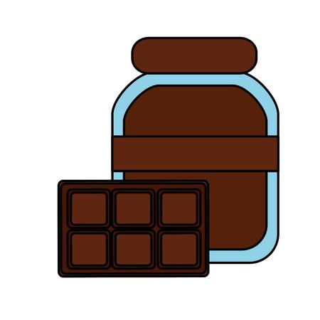 chocolade cacao fles en bar voedsel vector illustratie