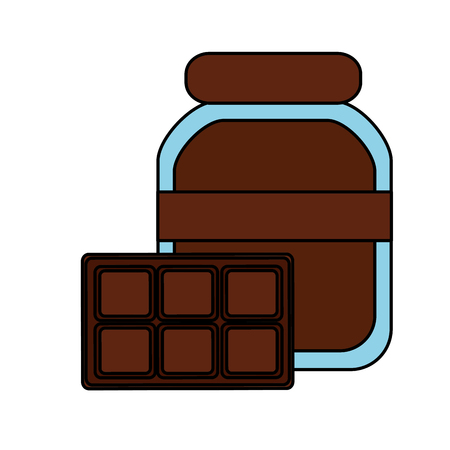 chocolate cocoa bottle and bar food vector illustration