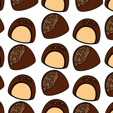 chocolate candy chips dessert seamless pattern vector illustration Ilustração