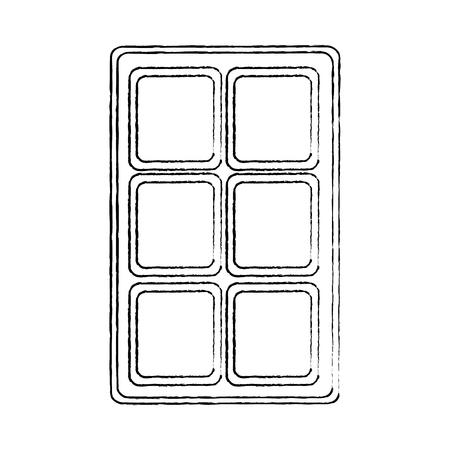 chocolate bar sweet block icon vector illustration Çizim
