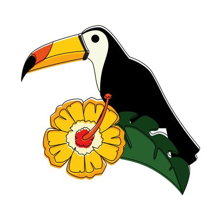 toucan exotic bird with flower vector illustration design