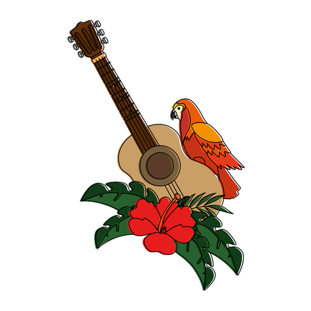 cockatoo exotic bird with flowers and guitar vector illustration design