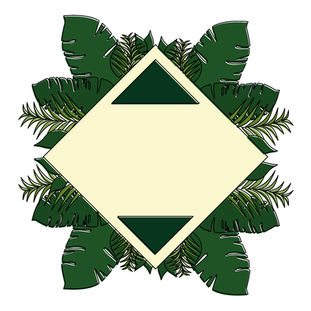 tropical palm leafs frame decorative vector illustration design Ilustração