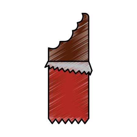 bitten chocolate bar block sugar wrapped vector illustration