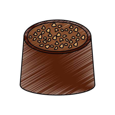 초콜릿 캔디 칩 달콤한 맛있는 벡터 일러스트 레이션