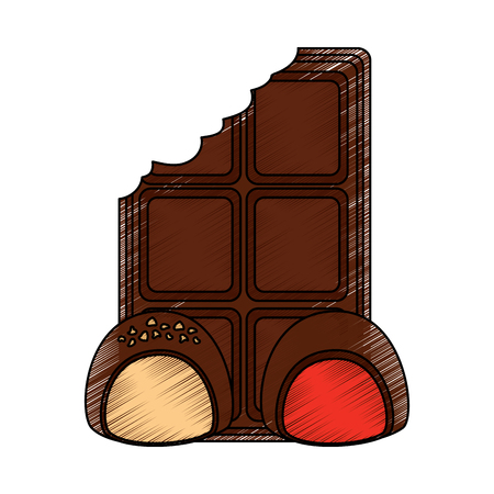 chocolate bar bitten and two candy cocoa dessert vector illustration