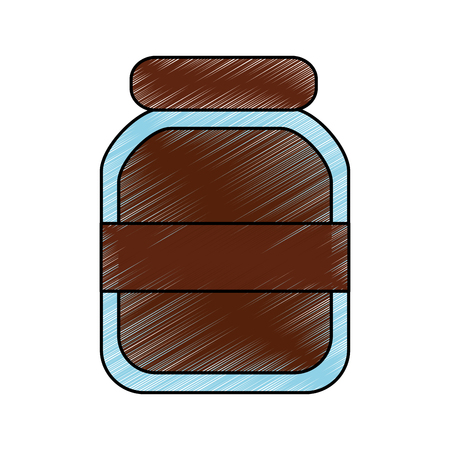 chocolate paste packaging cream in a glass bottle vector illustration Banco de Imagens - 92295131