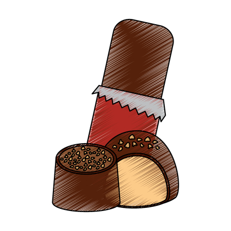 Chocolate bar and candies cream chips vector illustration