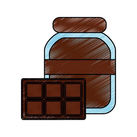 초콜릿 코코아 병 및 바 음식 벡터 일러스트 레이 션