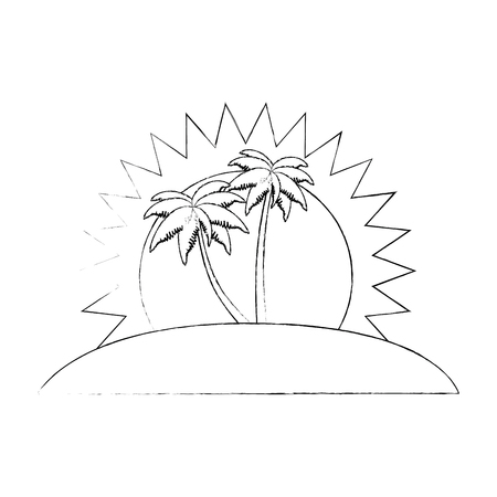 Tropical palm trees scene vector illustration design