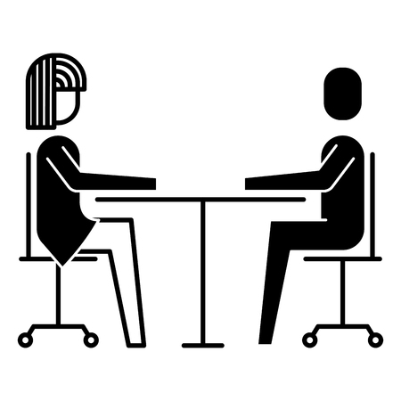 여자와 남자 비즈니스 앉아 통신 팀 벡터 일러스트 레이션