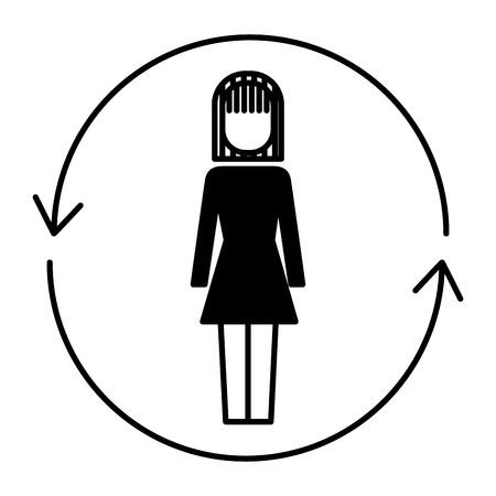 ソリューションベクトルイラストデザインの周りに矢印を持つビジネスウーマン  イラスト・ベクター素材